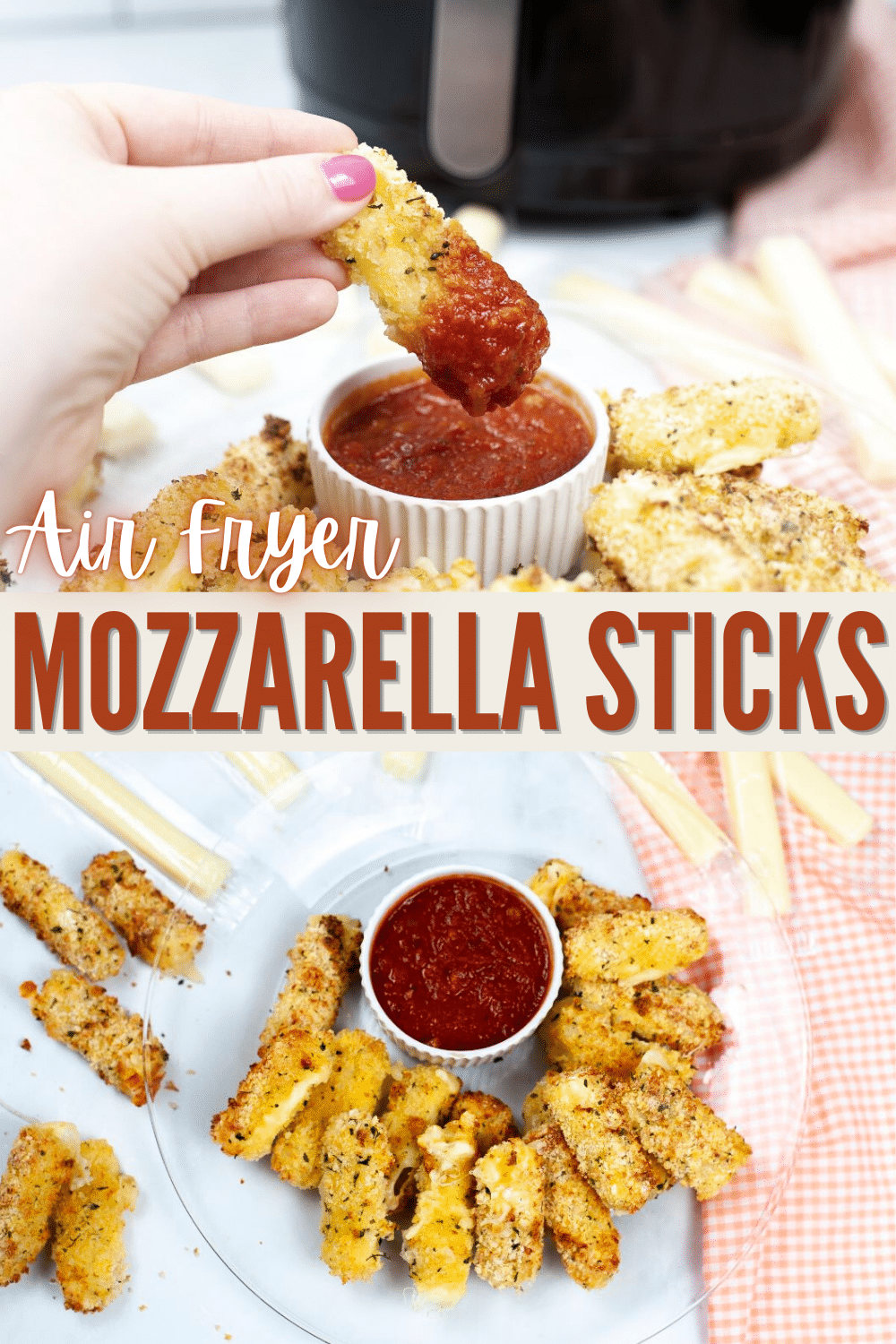 These homemade Air Fryer Mozzarella Sticks are so much better than frozen ones from the store. They're crispy outside & cheesy inside. #mozzarellasticks #homemade #airfryer #appetizers #recipe via @wondermomwannab
