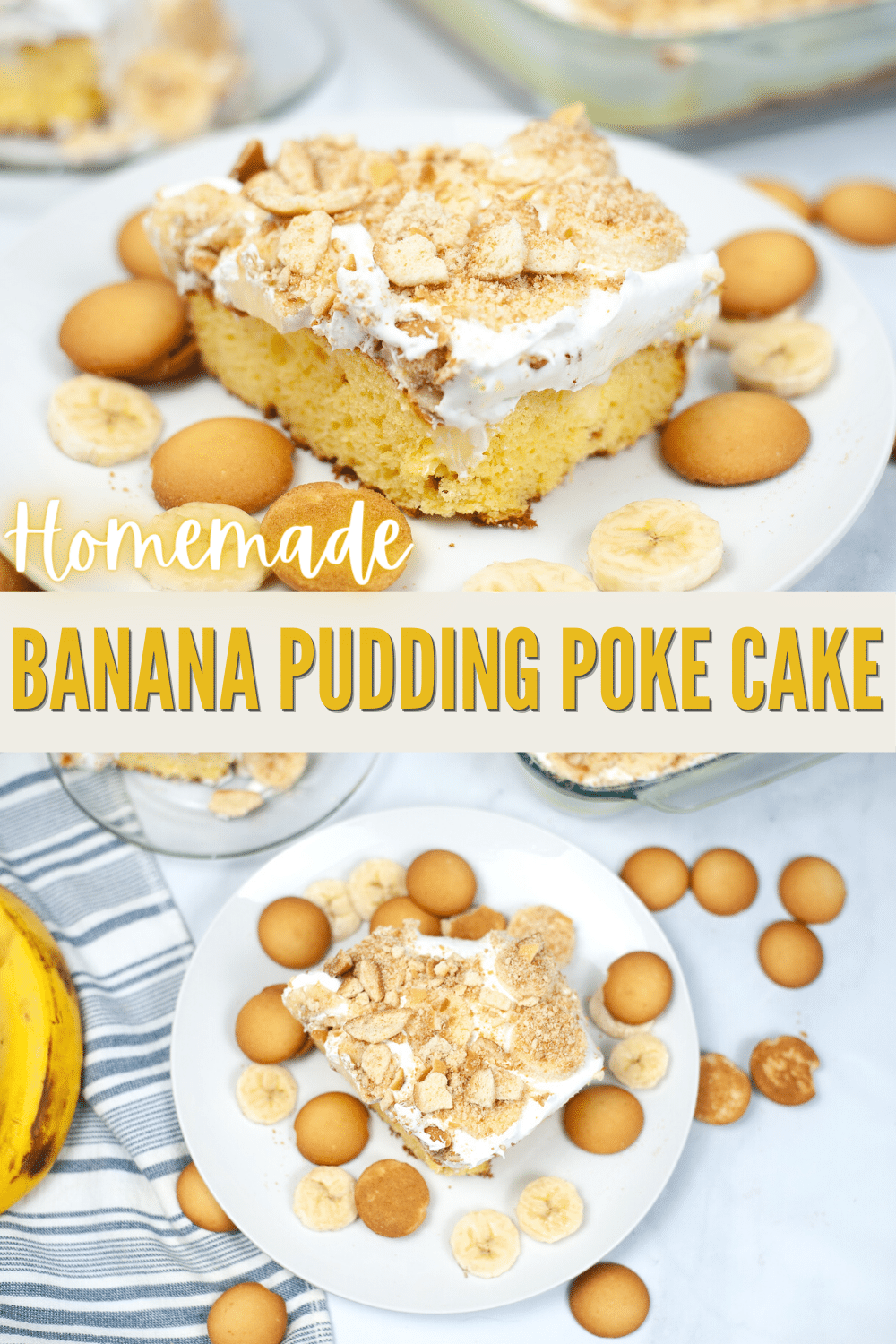 This banana pudding poke cake is a fun version of your favorite traditional banana pudding. All the flavors of banana pudding are here! #bananapudding #pokecake #bananacake #cake #dessert via @wondermomwannab