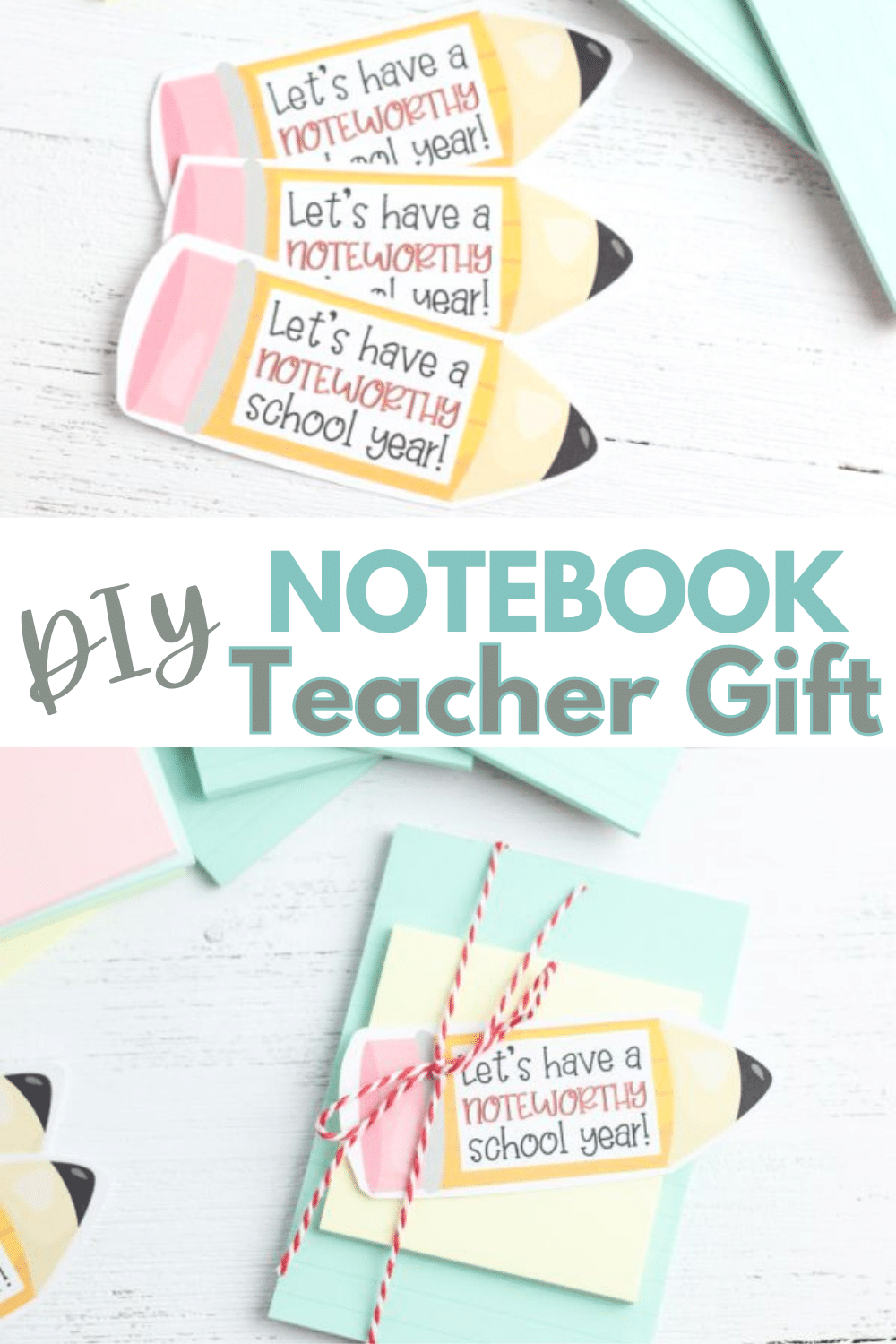 A fun teacher notebook gift with a free printable is a great way to start the school year. Have a noteworthy school year with a useful gift. #teachergift #printable #teachergiftidea via @wondermomwannab