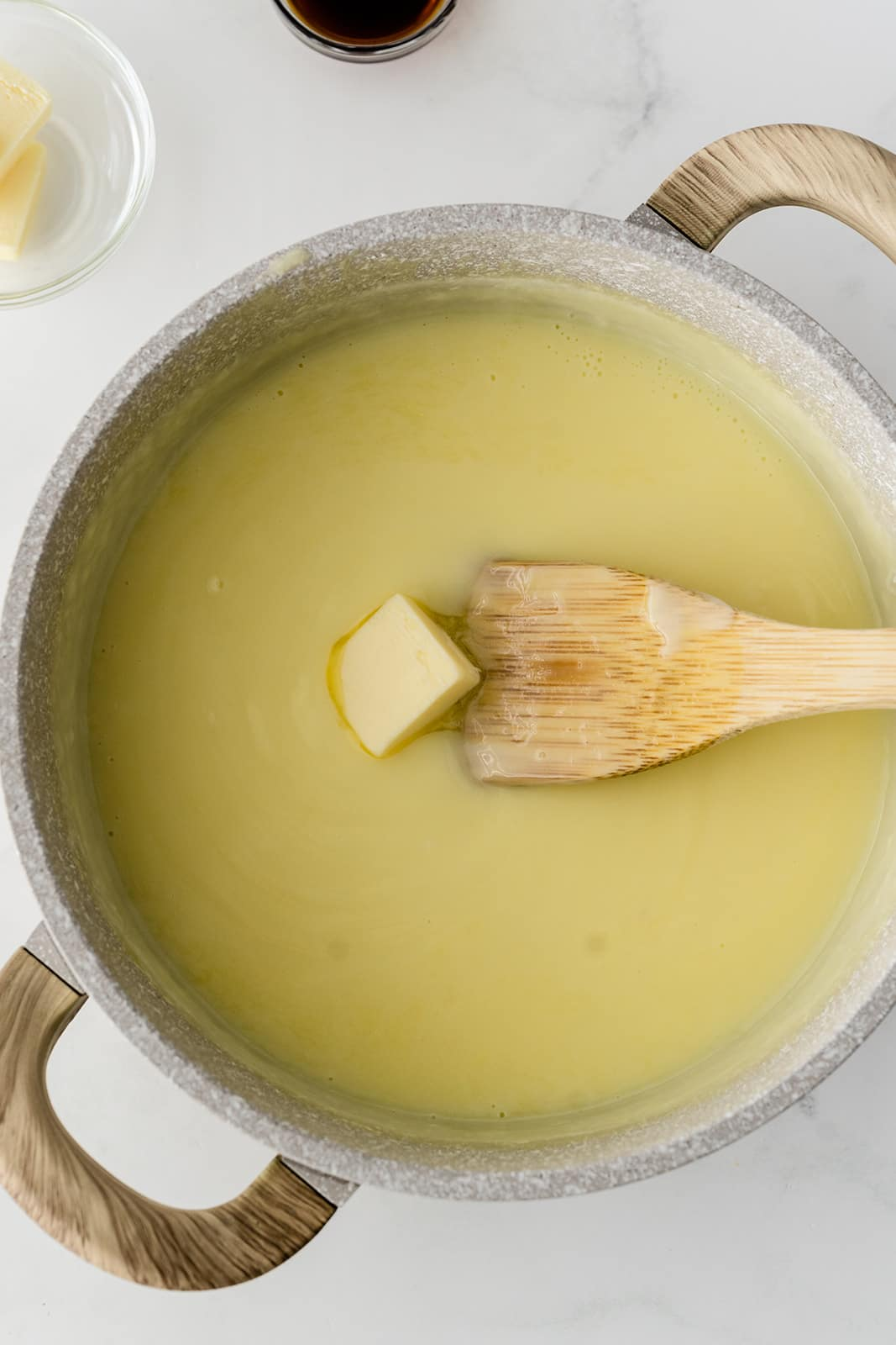butter being melted in pudding mixture