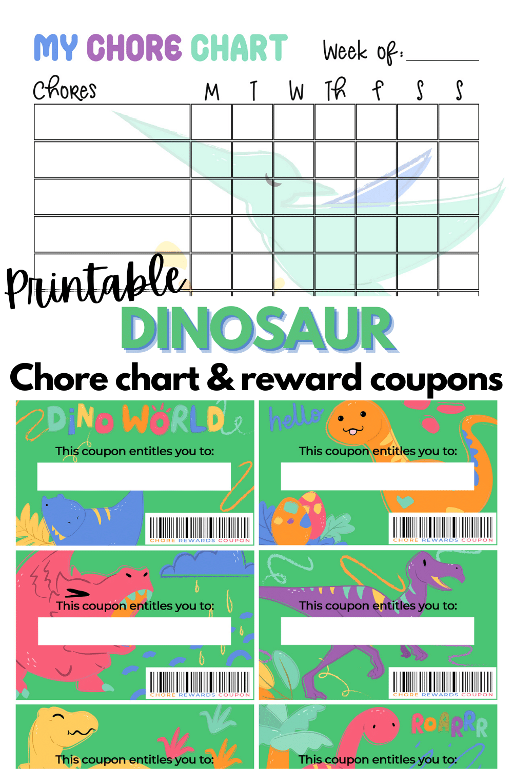 This printable dinosaur chore chart with reward coupons packet is perfect for kids who love dinos. A useful printable to keep kids on track. #printables #dinosaurs #chorechart via @wondermomwannab