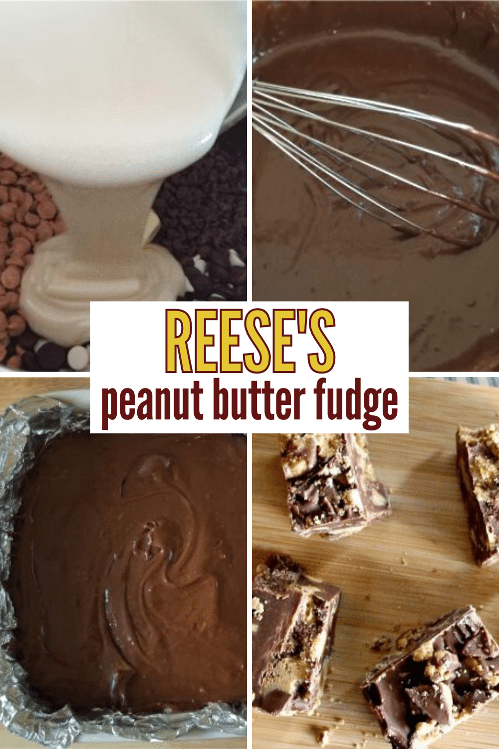 Reese's Peanut Butter Fudge made in the Instant Pot is so easy to make. The result is a rich and delicious fudge your whole family will love. #fudge #reeses #peanutbutter via @wondermomwannab