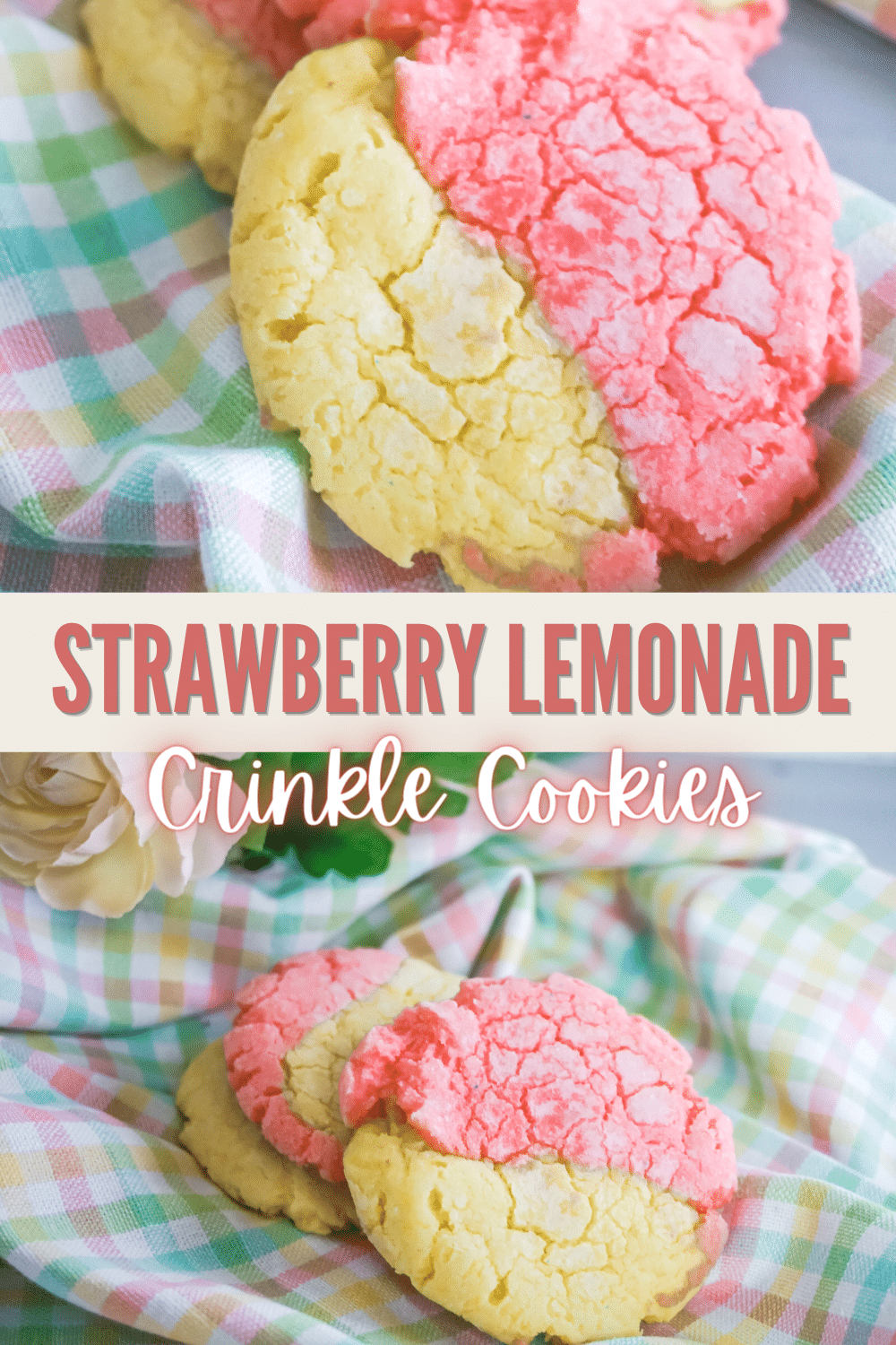 Strawberry Lemonade Crinkle Cookies are the cookies that you need in your life. The two-toned cookies are beautiful to look at! #crinklecookies #cookies #strawberrylemonade #recipe via @wondermomwannab