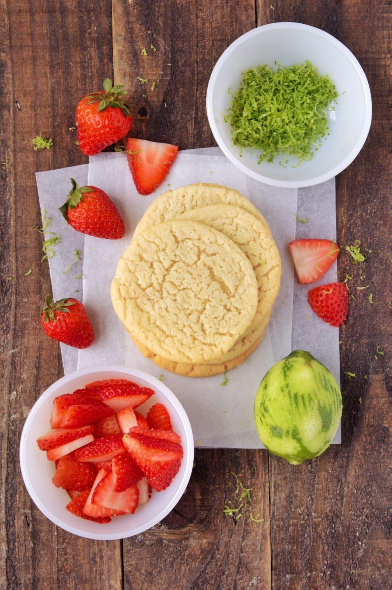 ingredients needed to make strawberry sugar cookies