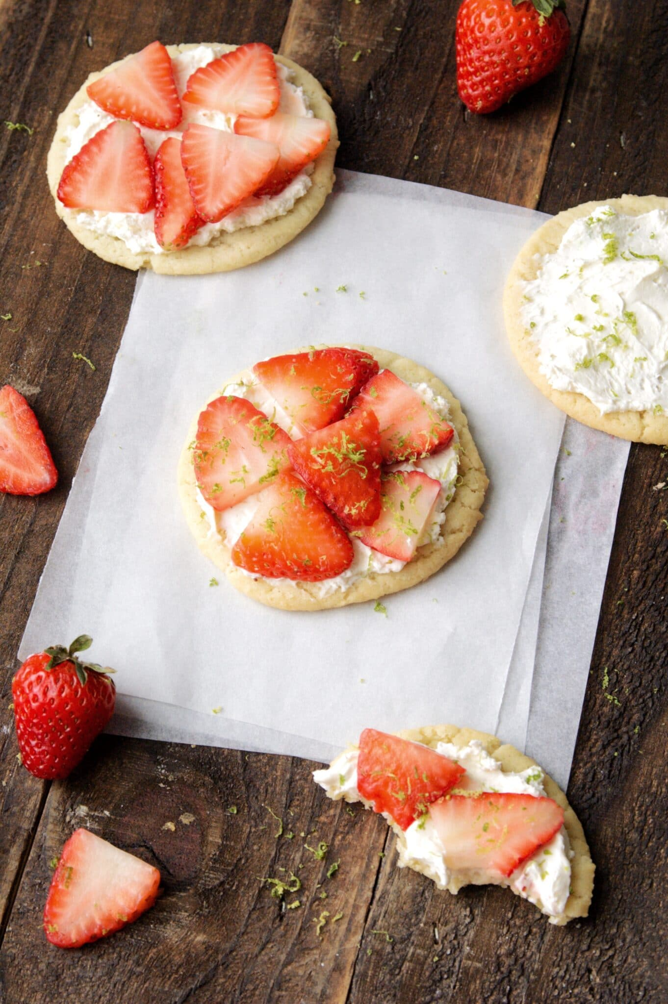 3 Strawberry Lime Sugar Cookie Tarts and one sugar cookie with frosting