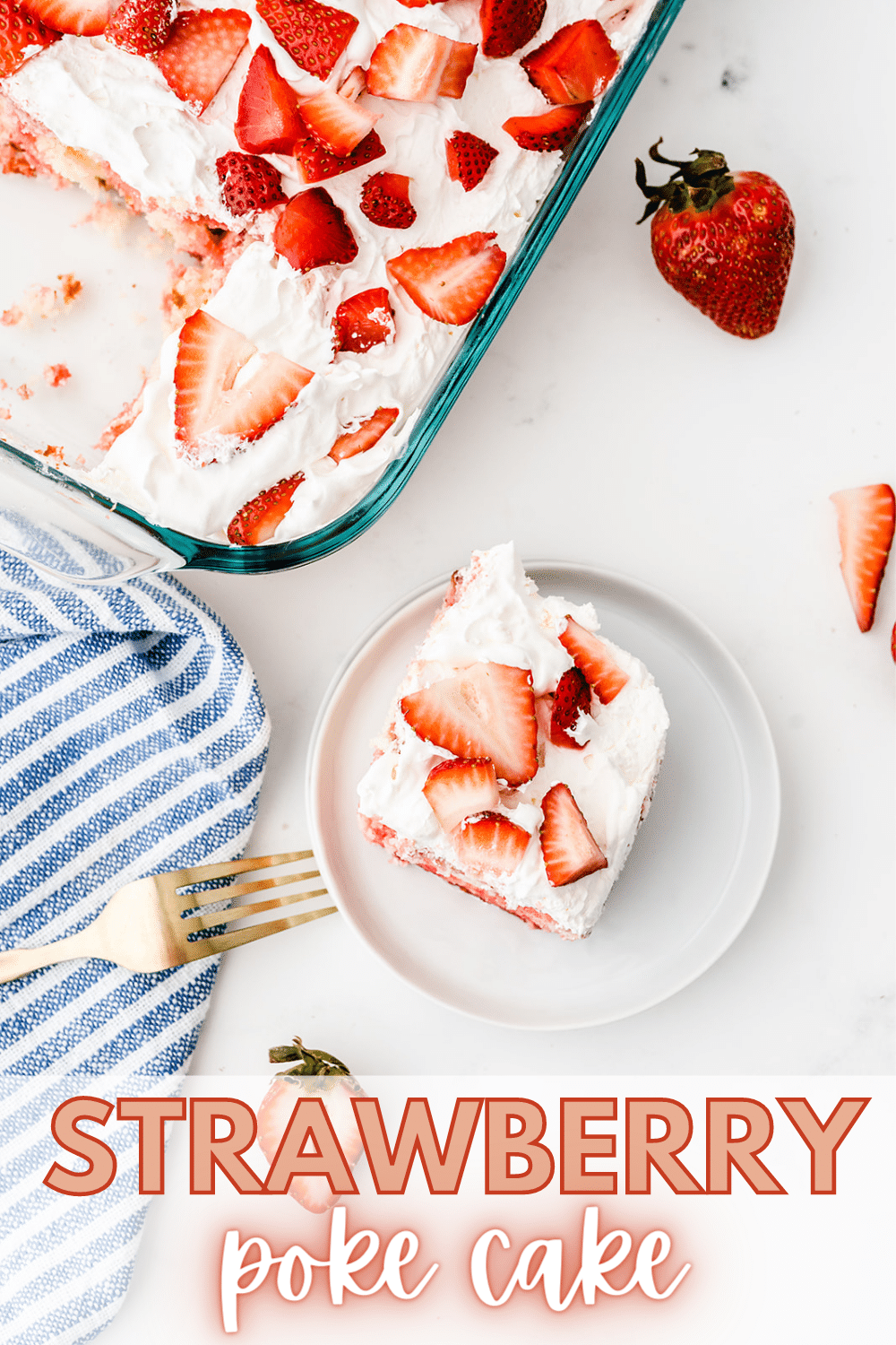 Strawberry poke cake is a perfect dessert for gatherings with family or friends. They will love you even more once they get a bite #cake #dessert #recipe #strawberrypokecake #pokecake via @wondermomwannab