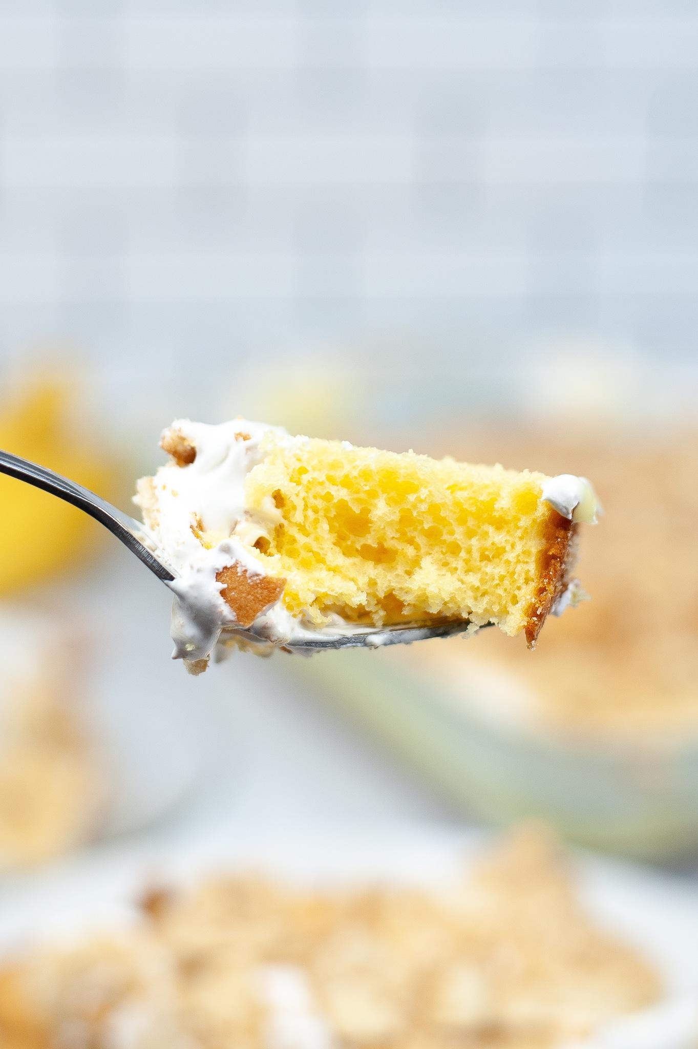 forkful of banana poke cake