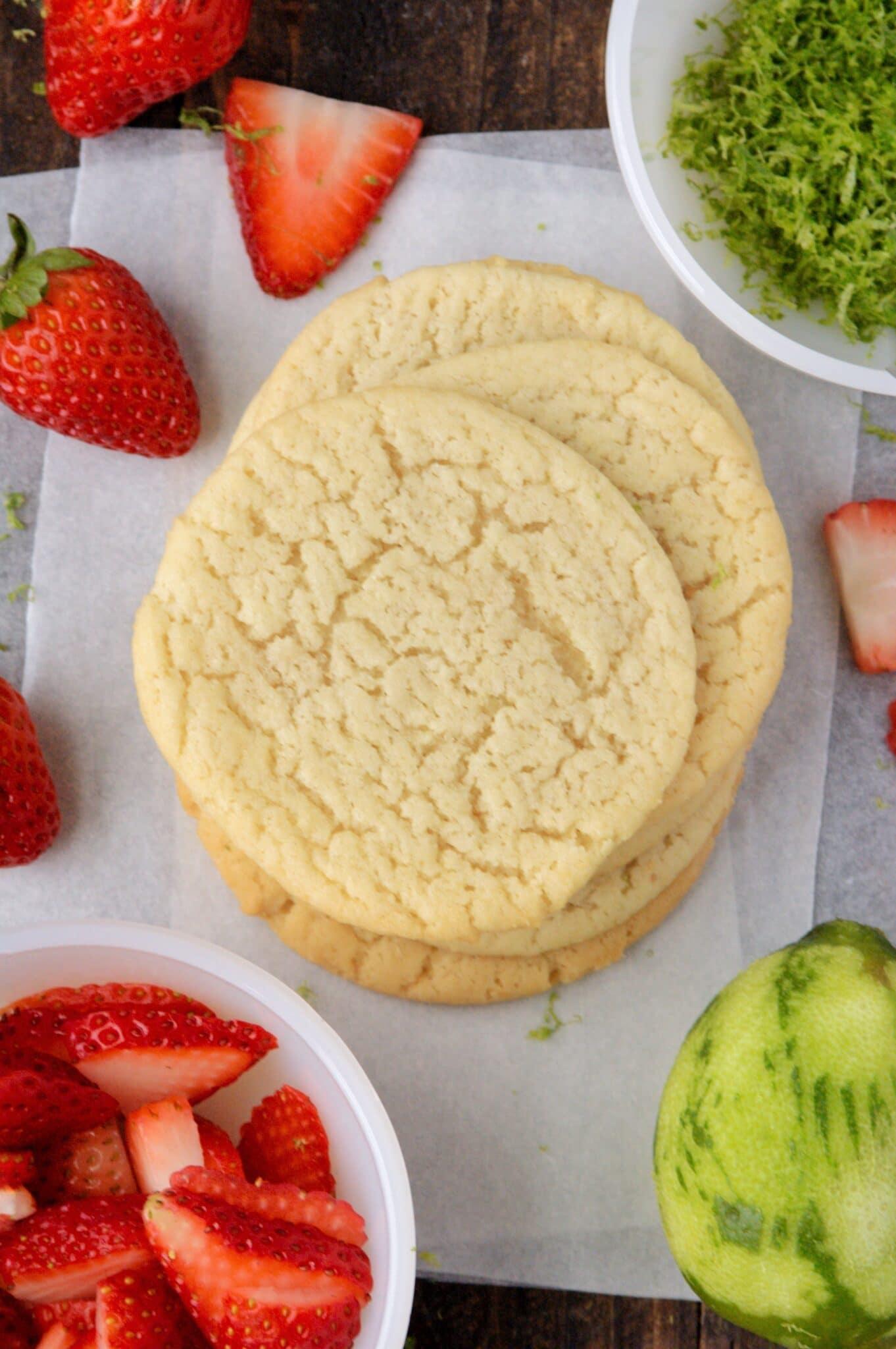 closeup of ingredients needed to make strawberry sugar cookies
