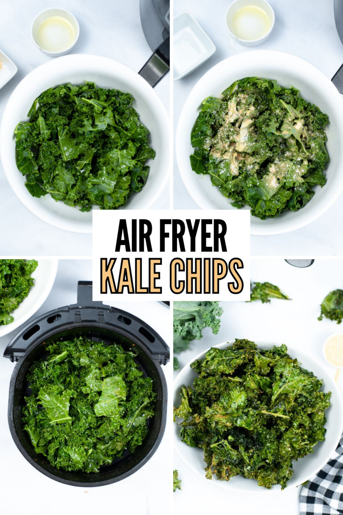 Air Fryer Kale Chips are crispy healthy chips bursting with salt and garlic flavors. These chips are so tasty even the kids will enjoy them! #airfryer #kalechips #lowcarb #keto #recipe via @wondermomwannab