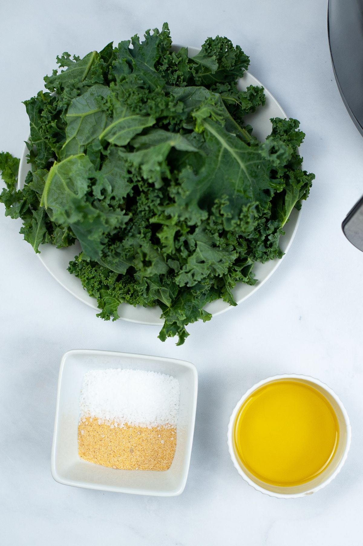 A bunch of Kale stalks in a bowl with other ingredients: garlic powder kosher salt and oil in a saucer and small bowl.