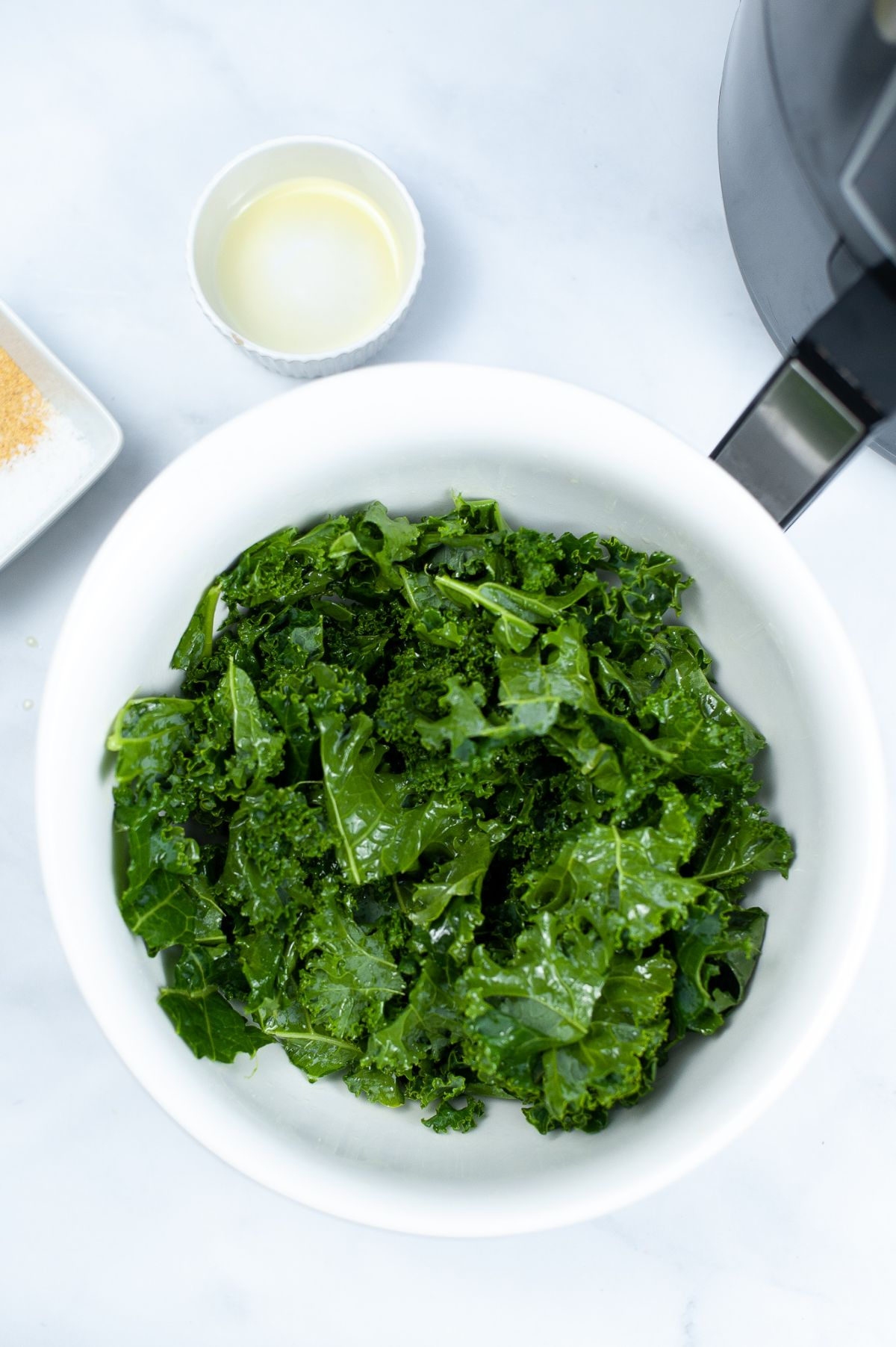 Kale leaves broken into smaller chip size pieces in a white bowl.