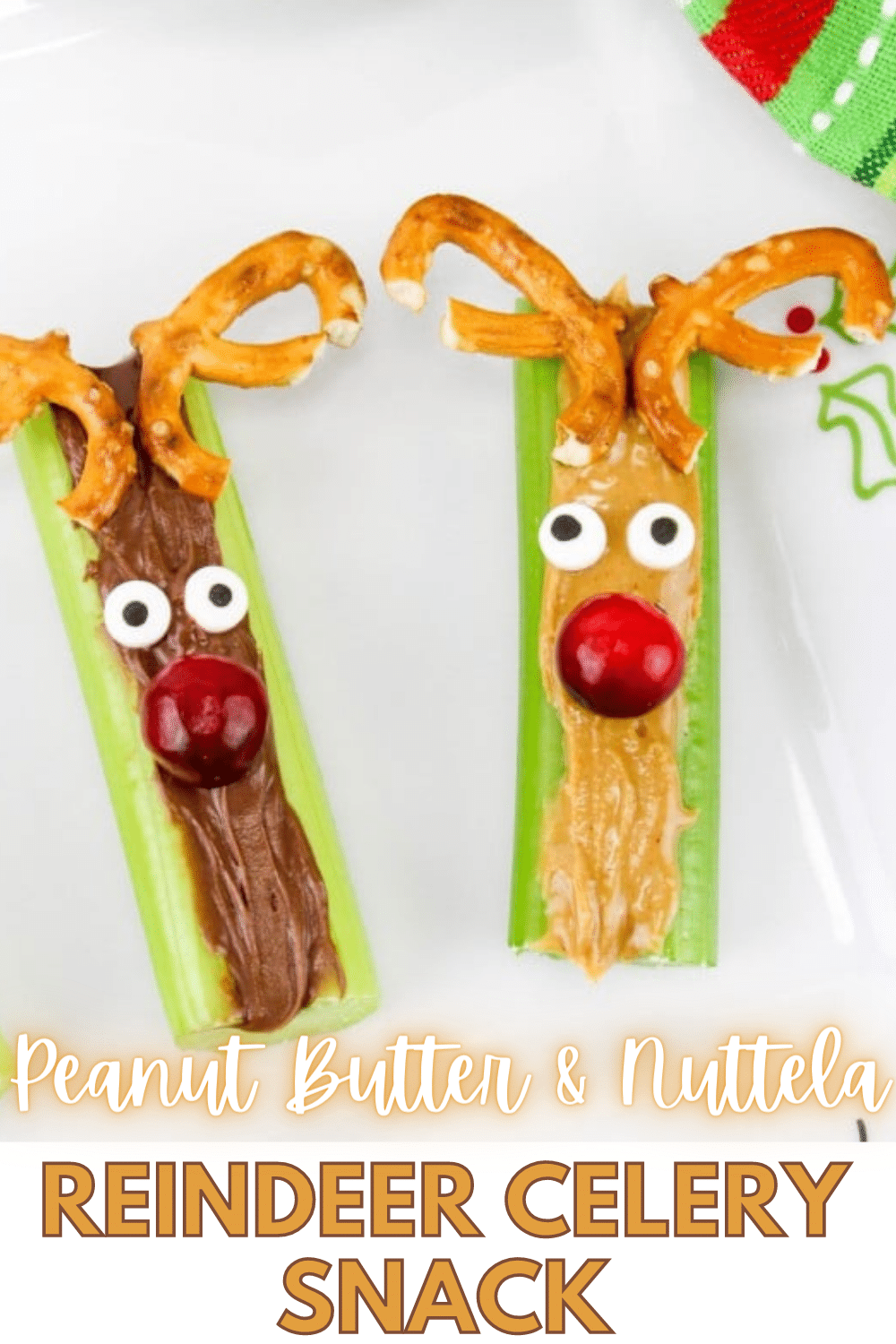 These Celery Reindeer Snacks are so cute and really easy to make. They're the perfect snack for kids during the holiday season. #Christmas #reindeer #funfood #snacks via @wondermomwannab