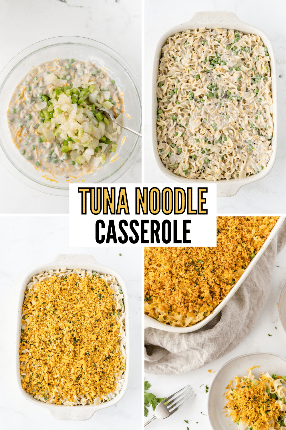 Classic Tuna Casserole is an old fashioned meal that is not only simple to make, but it's also ready for the oven in 15 minutes! #tunacasserole #tunanoodlecasserole #tuna #dinner #recipe via @wondermomwannab