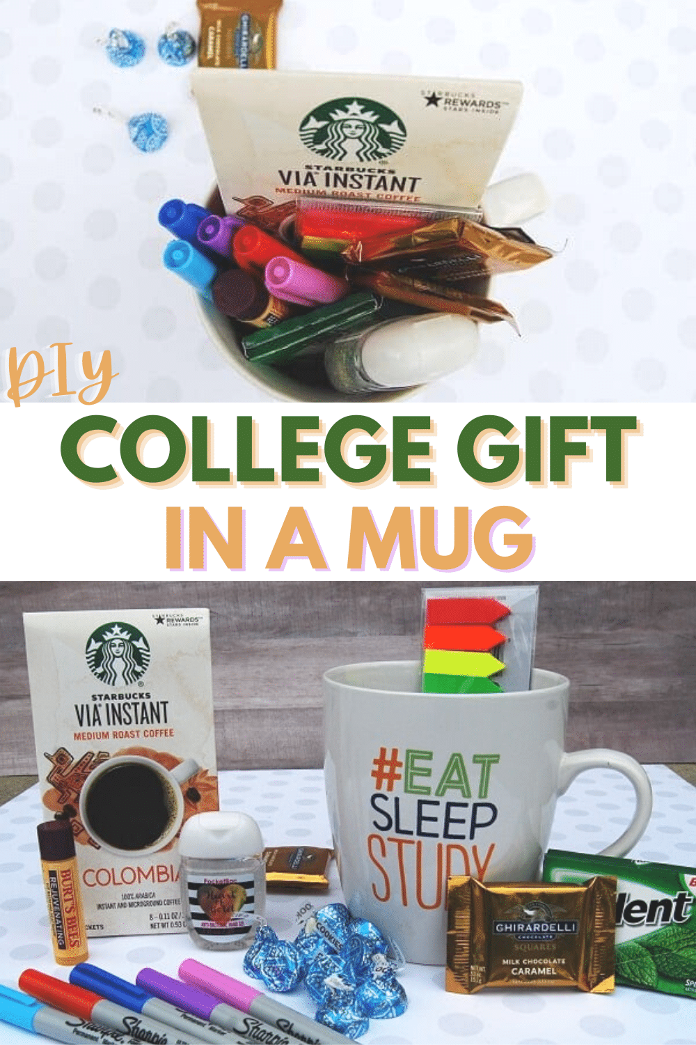 This college gift in a mug is a fun and easy gift idea for any college student. Perfect for encouragement during finals week or any time as a simple treat. #college #collegegift #giftidea #collegestudent via @wondermomwannab