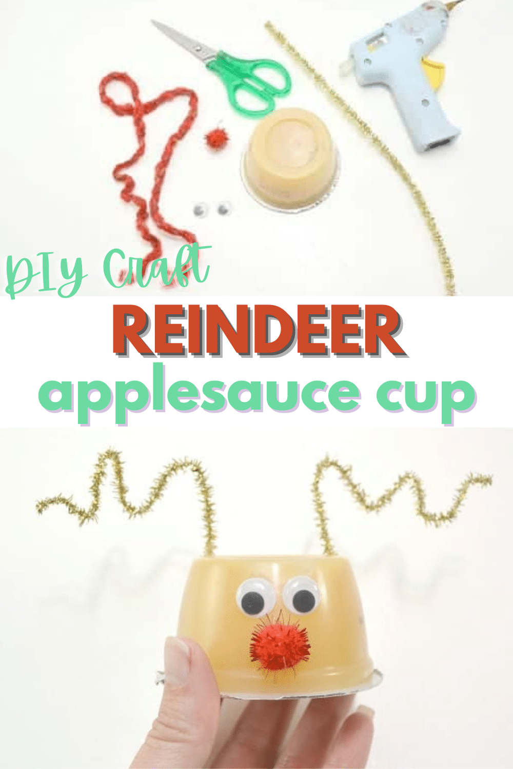 This reindeer applesauce is so cute! What an easy way to turn an ordinary snack into a fun holiday treat! #funfood #Christmas #reindeer #applesauce via @wondermomwannab