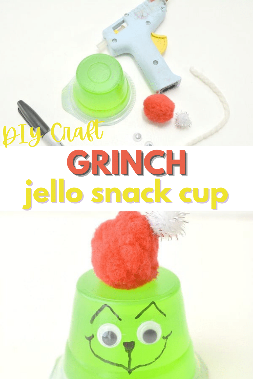 This Grinch Jello Cup is such a cute idea! What an easy way to transform this snack cup. #grinch #jello #forkids #snack via @wondermomwannab