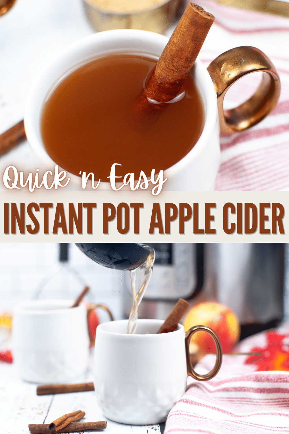 This Instant Pot Apple Cider recipe is the best drink for fall, full of comforting flavors and is perfect to warm you up on a cool day. #instantpot #pressurecooker #fall #applecider #recipe via @wondermomwannab
