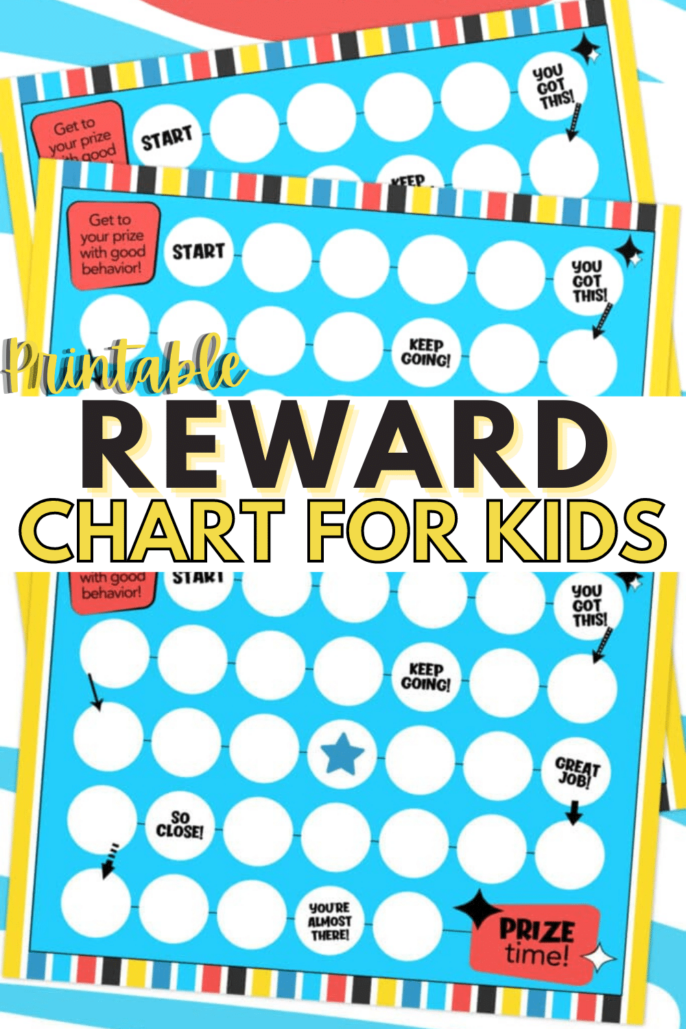 This printable reward chart for kids can be used in many ways and is a great tool to help kids improve behavior and reach goals. #printables #rewardcharts #printablesforkids via @wondermomwannab