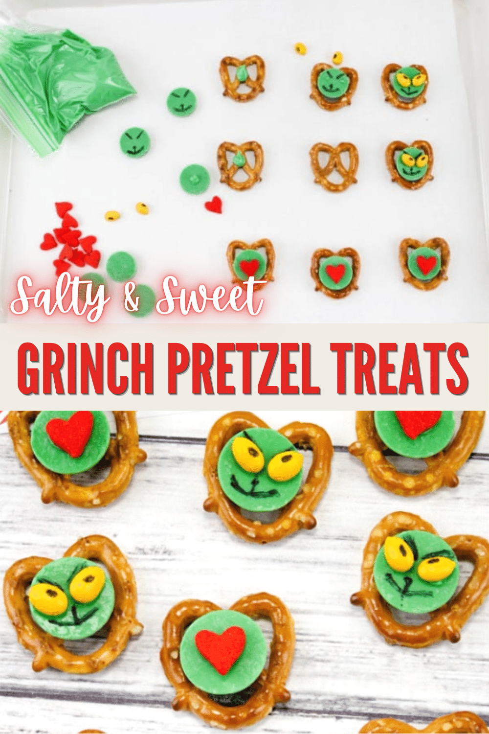 """I'm definitely making up a batch of these Grinch Pretzel Treats to snack on while watching """"The Grinch Who Stole Christmas."""" Adorable! And so easy to make too! #thegrinch #funfood #Christmastreats via @wondermomwannab"""