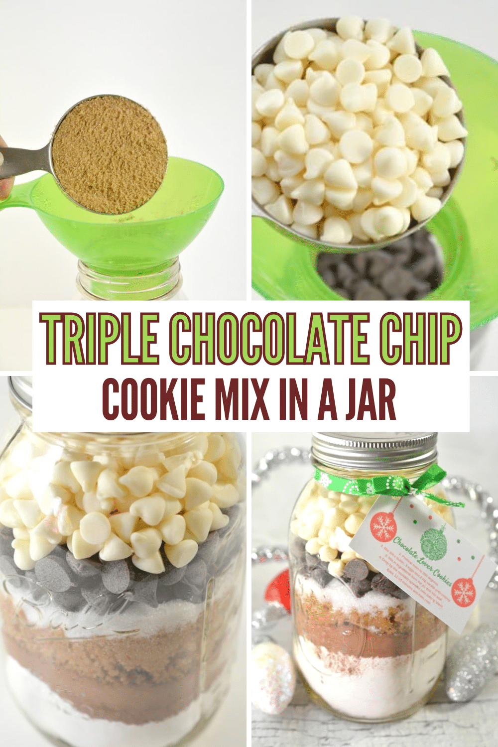 This delicious cookie mix in a jar gift is perfect for chocolate lovers! Comes with free printable tags to attach to the jar with instructions for the recipient to turn the mix into delicious triple chocolate cookies. #giftinajar #chocolate #cookies via @wondermomwannab
