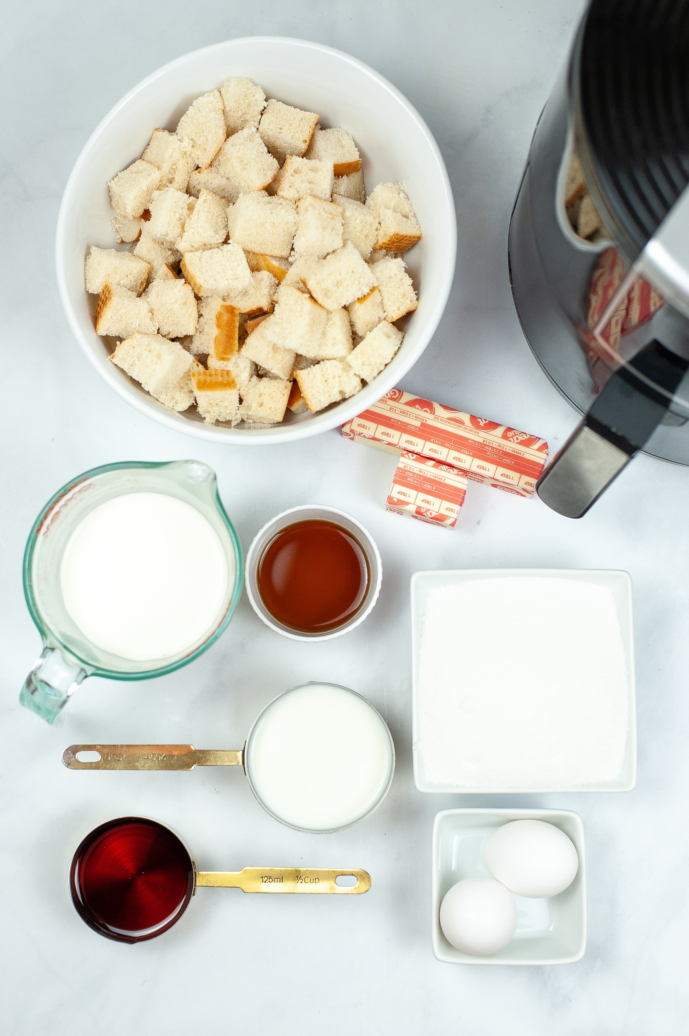 ingredients needed to make bread pudding