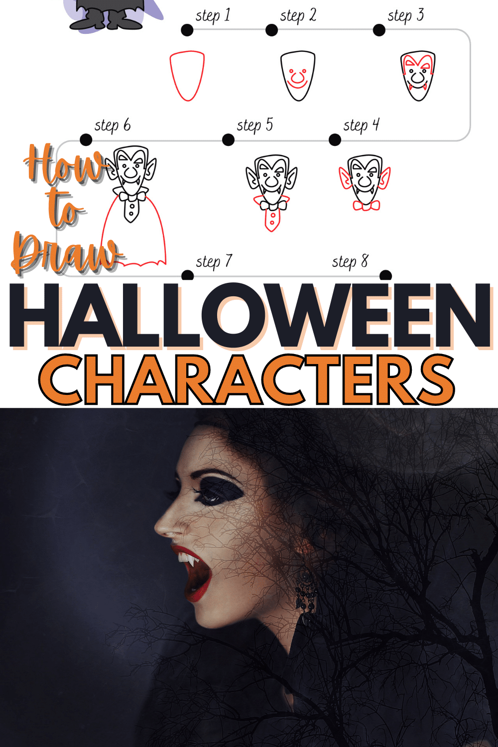 The kids are going to love to learn how to draw a vampire! This fun Halloween activity will get them geared up and excited for the big day! #howtodraw #vampire #halloween #freeprintable #forkids via @wondermomwannab