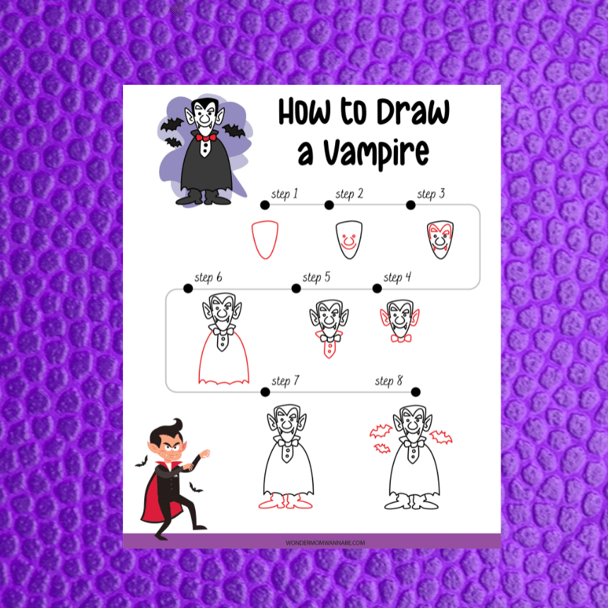 printable showing how to draw a vampire on a purple background
