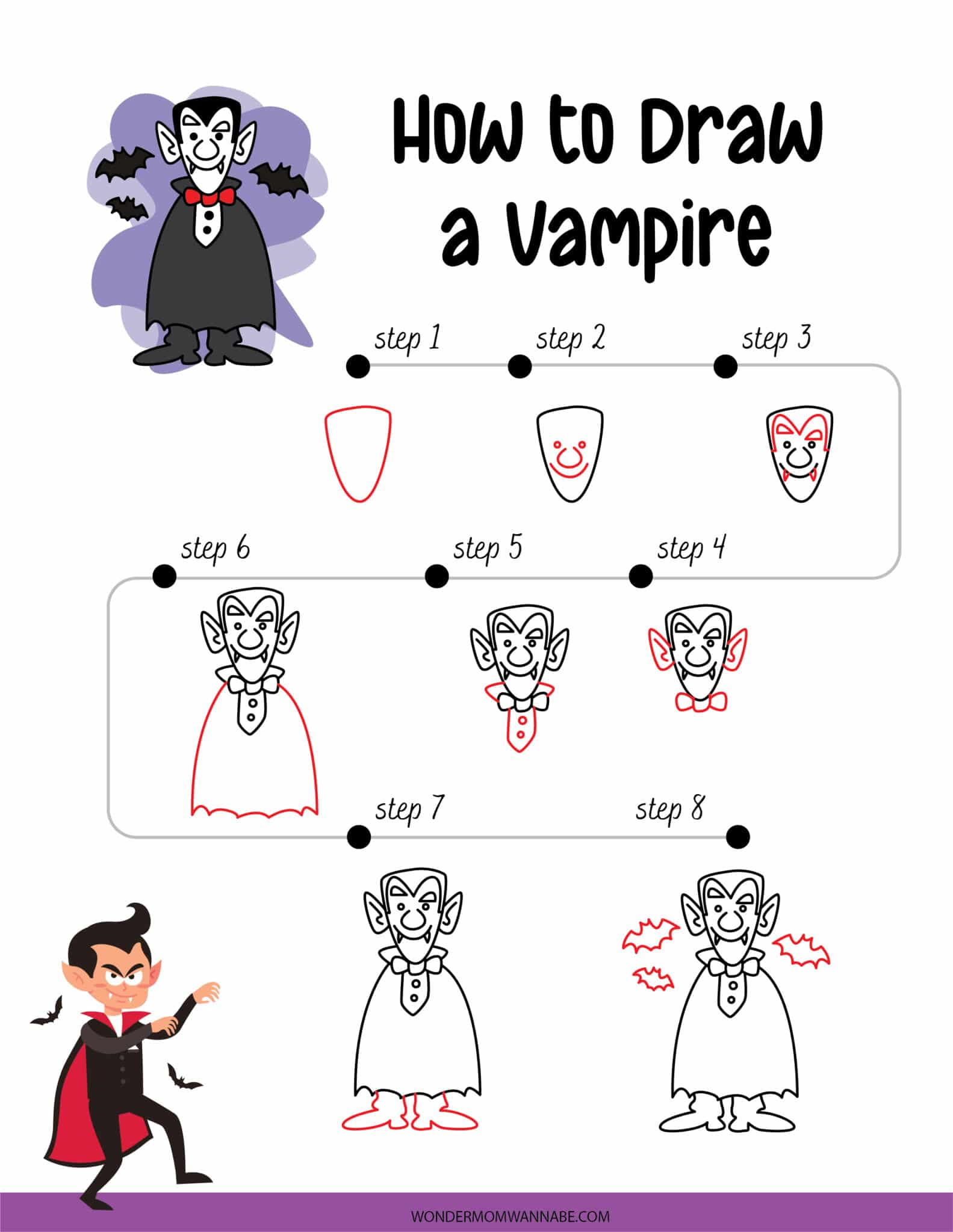 printable showing how to draw a vampire